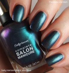 Sally Hansen Complete Salon Manicure - Black and Blue, deep teal to blue-green to purple duochrome, swatched once - $4