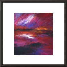 Fiber art wool painting felted landscape wall art pink red purple sky seascape…