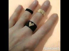 Eklem Yüzüğü - YouTube Peyote Beading, Beaded Bracelet Patterns, Jewelry Patterns, Beading Patterns, Beaded Bracelets, Diy Beaded Rings, Beaded Jewelry, Beaded Rings, Loom Bracelets