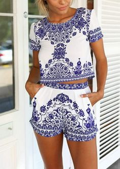 Blue White Short Sleeve Floral Crop Top With Shorts -SheIn Mobile Site