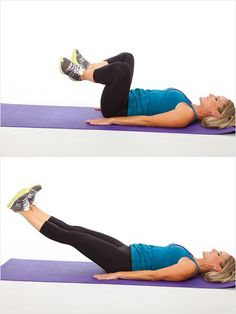 Frog- Lie on back with arms relaxed on the ground. Slowly bend knees towardschest, drawing abs in. Flex feet and turn knees out to the sides; heels touching. Press legs out, widening them at a 45-degree angle. With both legs extended and turned outward, squeeze the backs of knees together (inner thighs). Bend knees back in, maintaining the same 45-degree line on the way back.Repeat this movement 15 times. #legs #thighs #workout