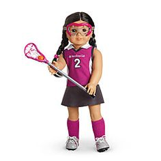With goggles! And little itty bitty mouthguards! And the ball is orange! The people at American Girl do good work.