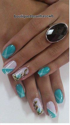 50 Fotos de Unhas Espanholas Fabulous Nails, Gorgeous Nails, Stylish Nails, Trendy Nails, Blue Nails, My Nails, Acrylic Nail Designs, Nail Art Designs, Beautiful Nail Art