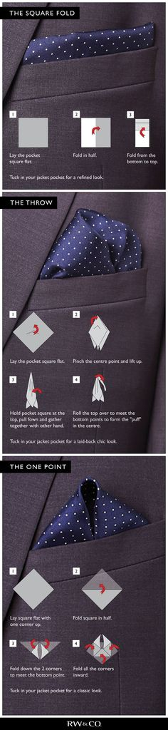 Some ideas on how to fold a pocket square. Were firm believers in there is no right or wrong way to do it. Just do whatever you like.