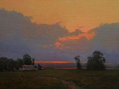 Kevin Courter, A Warm Evening Classic Paintings, Paintings I Love, Nature Paintings, Sky Painting, Painting & Drawing, Watercolor Paintings, Landscape Artwork, Traditional Paintings, Painting Inspiration
