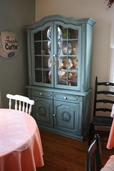 color....Vintage French Provincial China Cabinet painted in annie sloan provence blue.