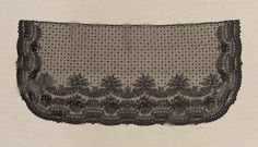 "Veil. French, 19th c. MFA, 28,870. Silk bobbin lace (Chantilly), 18 11/16"" x 40 15/16"". ""Black silk, net powdered with small dots and floral sprigs, bordered on three sides with conventional floral design."""