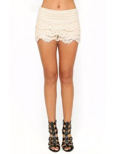 Spring Fun Crochet Shorts - SML - Ivry/Natrl  Also comes in black