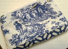 Blue White Toile Bag, Toile cosmetic bag, Toile clutch, bag, makeup bag, blue and white clutch, cosmetic pouch, travel accessory bag, pouch by PandenteDesigns on Etsy