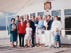 The Royal Family on board HMY Britannia: (L-R) Princess Margaret, Prince Andrew, Queen Elizabeth ll, Prince Phillip, Prince Edward (in front), Princess Diana w/ William, Prince Charles w/ Harry, HRH Princess Ann w/ Zara Phillips.