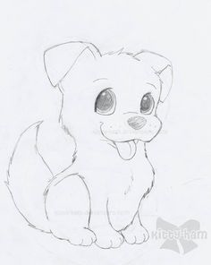 Puppy Drawing Easy, Dog Pencil Drawing, Dog Drawing Simple, Easy Pencil Drawings, Cute Animal Drawings, Drawing Ideas, Pencil Art, Puppy Drawings, Animal Sketches Easy