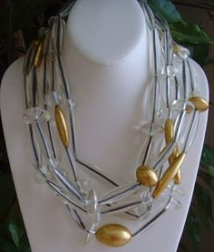 Gerda Lynggaard Monies 5 Strand Lucite and Gold-Leaf Foiled Necklace Monies Jewelry, Sea Jewelry, Bead Jewellery, Glass Jewelry, Beaded Jewelry, Jewelry Necklaces, Handmade Jewelry, Beaded Necklace, Stone Necklace