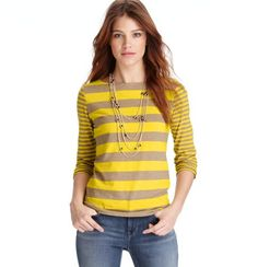 $15 - So comfy & comes in other great colors!! [Petite Stripe Cotton 3/4 Sleeve Tee]