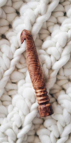 OOAK Wood Crochet Hook Size U 25 mm Ergonomic Wooden