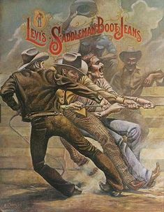 Levi's Saddleman Boot Jeans Original Advertising Poster