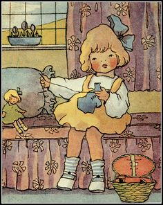 Illustration of a little girl sewing clothes for her doll, by Linda Edgerton