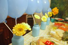 It would be cool to paint the mason jars the colors of my baby shower and use as table center pieces