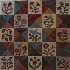 Jo Morton quilt. Nice setting of appliqued blocks