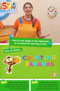"""Caitie demonstrates the gestures and shares some activity ideas for our version of this popular kids song """"Counting Bananas."""" Counting Activities, Children Activities, Preschool Songs, Toddler Preschool, Popular Kids Songs, Indoor Games For Kids, How To Teach Kids, Early Math, English Language Learners"""