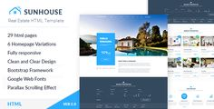 Buy SunHouse - Multiconcept Real Estate PSD Template by TheRubikThemes on ThemeForest. We are happy to announce that the WordPress version is available for sale. Especially, this PSD template is free for . Email Template Design, Template Site, Html Templates, Best Templates, Real Estate Templates, Website Themes, Website Ideas, Free Website, Web Design Inspiration
