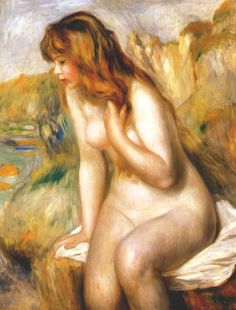* Pierre-Auguste Renoir - - - Bather, sitting on a rock