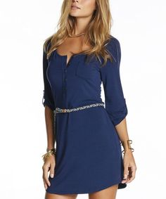 Love this Peacoat Belted Scout Three-Quarter Sleeve Dress by TART Collections on #zulily! #zulilyfinds