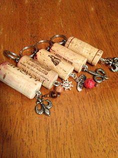 Charmed wine cork keychains.