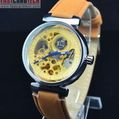 Unique Automatic Skeleton Golden Watch J220 – Male Stainless Steel Skeleton Golden Dial Auto Mechanical Watches Leather Wristwatch.