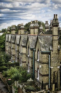 A row of older Victorian houses in East London, #England.
