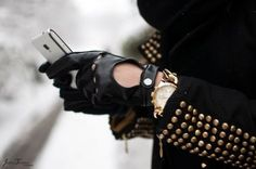 studded arms + driver gloves