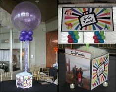 Travel Theme Party Ideas - Photo Cube Bar & Bat Mitzvah Centerpieces from Balloon Artistry - mazelmoments.com