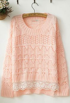 Sweet lace pink sweater