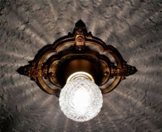 LOVELY! VINTAGE LIGHT ANTIQUE RIDDLE ART DECO CEILING LIGHT FIXTURE
