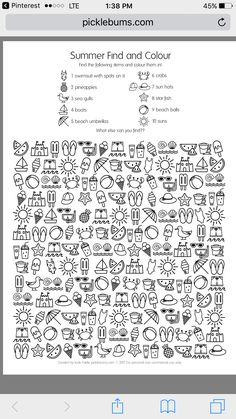 Summer Find and Colour Activity - free printable fun! - - Summer Find and Colour Activity – free printable fun! Summer Find and Colour Activity – free printable fun! Color Activities, Summer Activities, Summer School, Summer Fun, Coloring For Kids, Coloring Pages, Hidden Pictures, English Activities, Activity Sheets