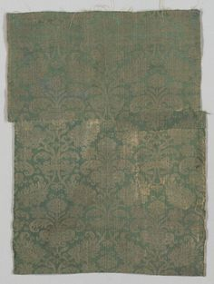 Two Lengths of Textile, 1500s Italy or Spain, 16th century damask, silk, Overall - h:75.00 w:56.00 cm (h:29 1/2 w:22 inches). Purchase from the J. H. Wade Fund 1952.564.a