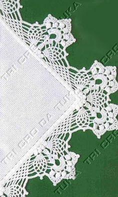 Crochet Edging Patterns, Crochet Lace Edging, Crochet Motifs, Crochet Borders, Thread Crochet, Crochet Flowers, Filet Crochet, Knit Crochet, Crochet Embellishments
