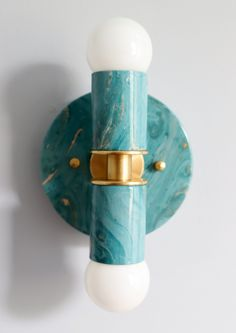 Marbled teal and Green Two light wall sconce or flushmount ceiling light with brass accents. Made in New Orleans by Sazerac Stitches. Great light fixture for bathrooms, hallways, baby nurseries, and more. Flush Mount Kitchen Lighting, Flush Mount Ceiling, Wall Sconce Lighting, Wall Sconces, Baby Boy Nursery Decor, Nursery Design, Modern Lighting Design, Modern Design, Bathroom Light Fixtures