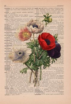 Wall art Vintage Illustration Anemones bouquet collage Print on Vintage Book page Book Page Art, Old Book Pages, Book Art, Art Floral, Floral Prints, Vintage Illustration, Botanical Illustration, Vintage Diy, Anemone Bouquet