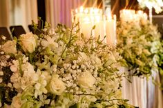 Sweetheart table with white flowers and candles table table flowers Bridal Table, Sweetheart Table, Floral Wall, Hedges, White Flowers, Candles, Table Decorations, Home Decor, Decoration Home