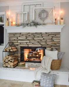 You can add warmth and charm to your home with the help of various fireplace farmhouse decor ideas. The fireplace designs will suit well for the small area and can be a source of pleasure and entertainment during chilly winter… Continue Reading → Fireplace Hearth Decor, Fireplace Remodel, Fireplace Design, Fireplace Ideas, Farmhouse Fireplace Mantels, Mantle Ideas, Winter Home Decor, Family Room Design, Trendy Home