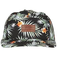 Tropical 5 Panel Cap by Vans (90 ILS) ❤ liked on Polyvore featuring accessories, hats, black, 5 panel hat, five panel cap, 5 panel cap, floral print hat and floral five panel hat