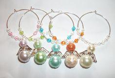 ANGELS. Angel Glass Pearl Wine Glass Charms by ElizabettaJewellery
