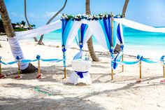 Just perfect blue & white #bamboo_gazebo for your #destination_wedding in Punta Cana. Photo by Nik Vacuum. Organization by http://wedding-caribbean.com