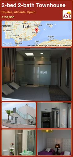 Townhouse for Sale in Rojales, Alicante, Spain with 2 bedrooms, 2 bathrooms - A Spanish Life Alicante Spain, Underfloor Heating, Open Kitchen, Hotel Spa, Second Floor, Solar Panels, Townhouse, Terrace, Bathroom