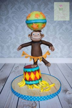 Curious George inspired cake balance cake circus act - A cake I made for my son this past week inspired by his favorite cartoon character in TV Curious George Cakes, Curious George Party, Anti Gravity Cake, Gravity Defying Cake, Cupcakes, Cupcake Cakes, Fondant Cakes, Cake Structure, Circus Cakes