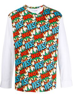 Multicoloured cotton Yes No print jumper from Comme Des Garçons Shirt featuring a round neck, long sleeves, printed panels and a straight hem. Comme Des Garçons Shirt, Jumper, Brand You, Size Clothing, Women Wear, Long Sleeve, Sleeves, Cotton, Shirts
