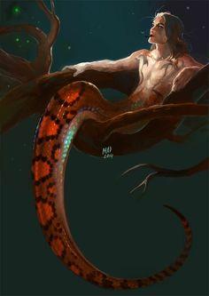 Fantasy madnessdemon: 30 Day Monster boy Challenge, number Naga Epicrates cenchria used as refere Dark Fantasy Art, Fantasy Kunst, Rikki H2o, Monster Boy, Snake Monster, Mermaids And Mermen, Merfolk, Mythological Creatures, Drawing Challenge