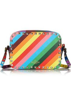 The Rockstud printed leather shoulder bag #accessories #women #covetme #valentino
