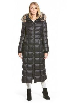 Women&39s MONCLER Black Lacquer Down Coat w/ Silver Fox Custom
