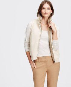 Reversible Faux Fur Vest   Ann Taylor